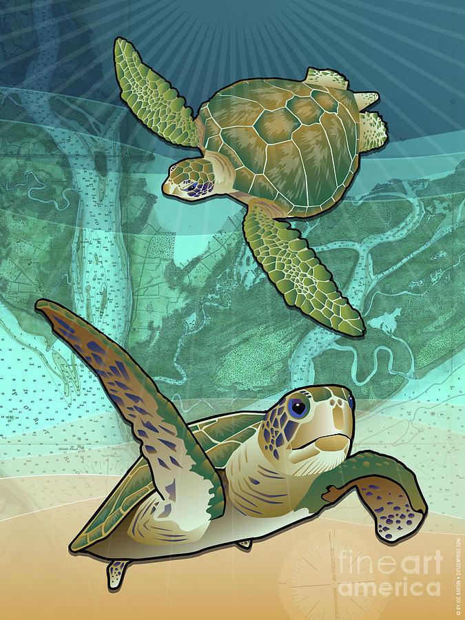 Sea Turtles Near Beaufort, Sc Digital Art
