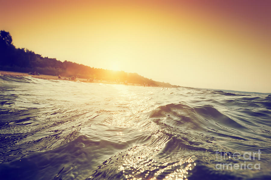 Sea Waves And Ripples At Sunset Photograph