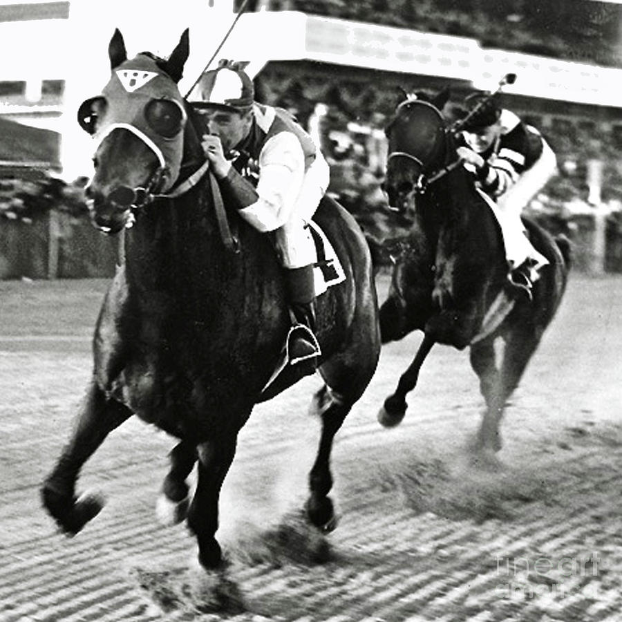 Seabiscuit Photograph - Seabiscuit And George Woolf Lead War Admiral And Jockey Charles Kursinger In The First Turn, Pimlico by Thomas Pollart