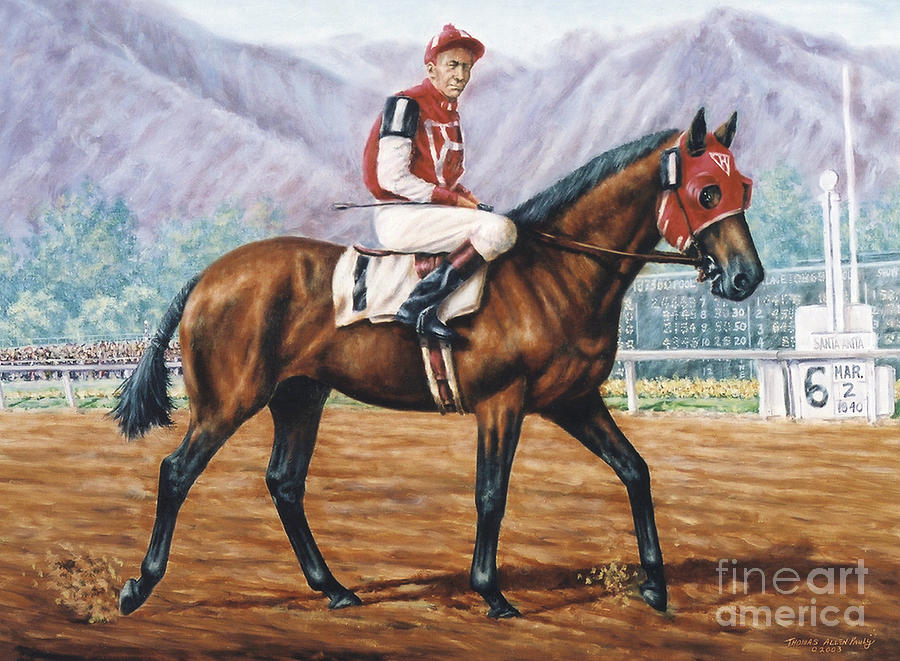 Red Pollard Painting - Seabiscuit at Santa Anita by Thomas Allen Pauly
