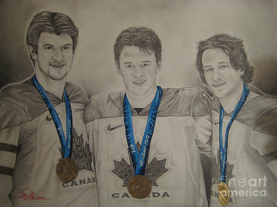 Hockey Drawing - Seabrook Toews Keith Gold Medal by Brian Schuster
