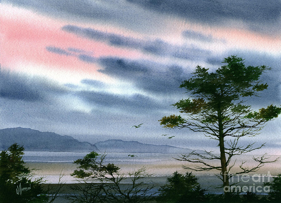Winter Greeting Card Painting - Seacoast Winter Sunset by James Williamson