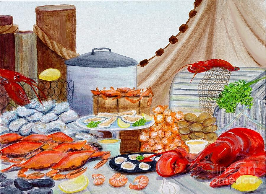 Seafood Painting - Seafood Feast by Pauline Ross