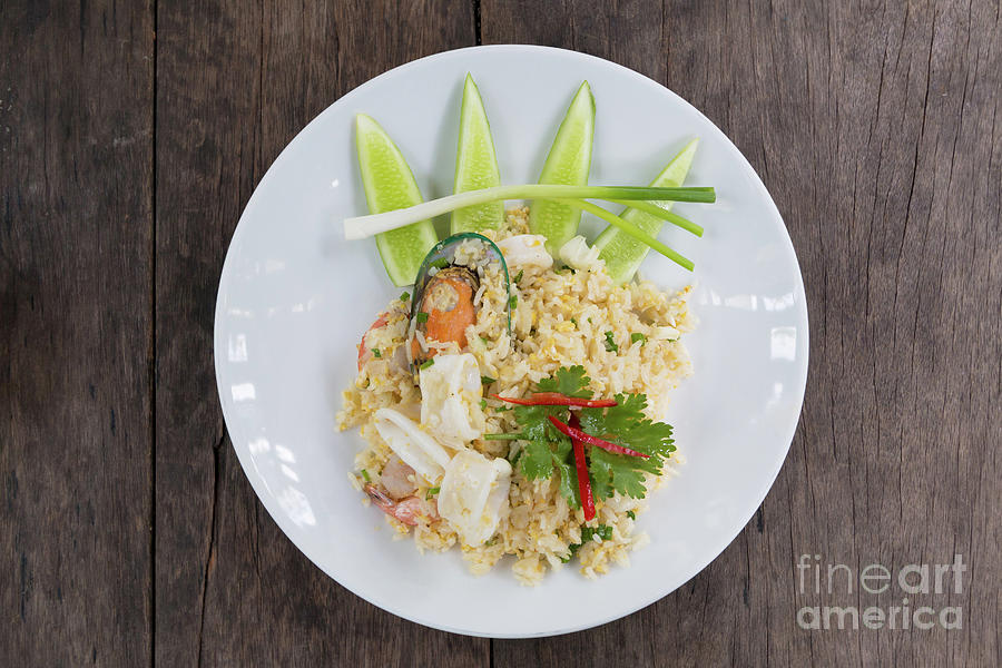 Asia Photograph - Seafood Fried Rice by Atiketta Sangasaeng