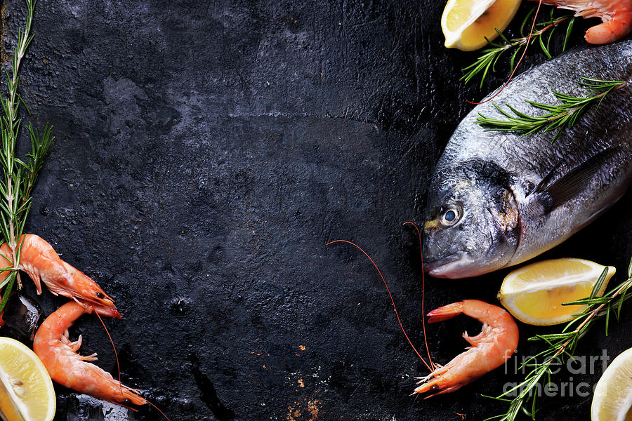 Seafood On Black Background Photograph By Jelena Jovanovic