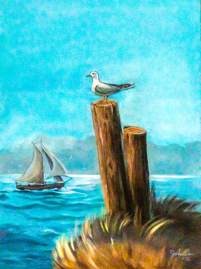 Sea Painting - Seagull At Port Entrance by Nadine Johnston