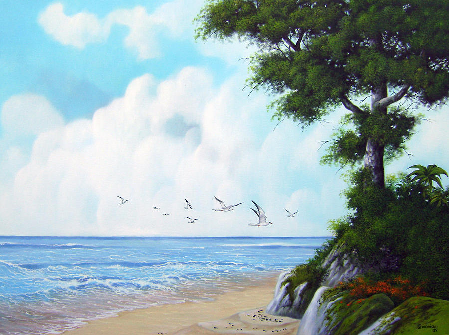 Landscape Painting - Seagull Beach by Antonio Gomes Comonian