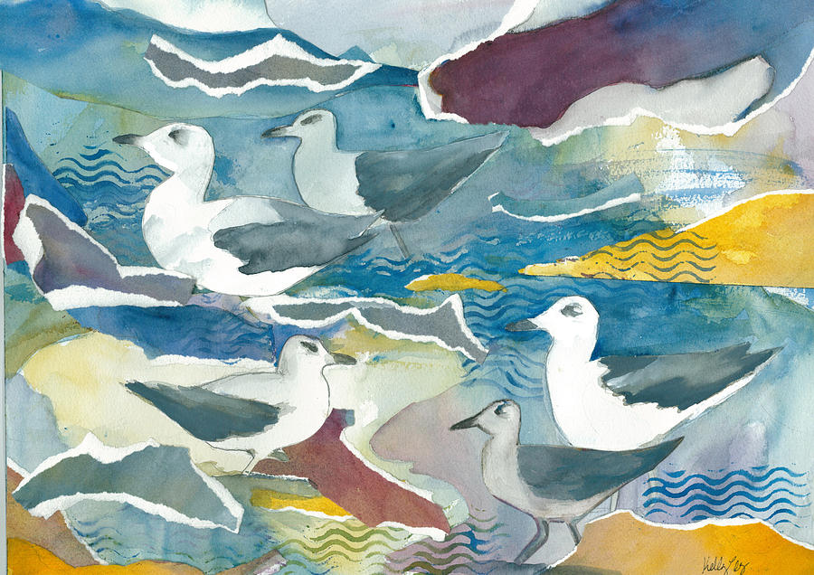 Ocean Painting - Seagull Collage by Kelly Perez