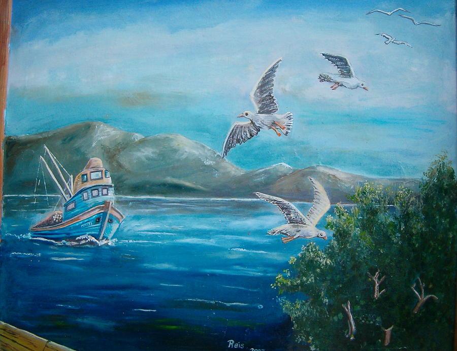 Seagull Painting - Seagull by Fahrettin  Oktay
