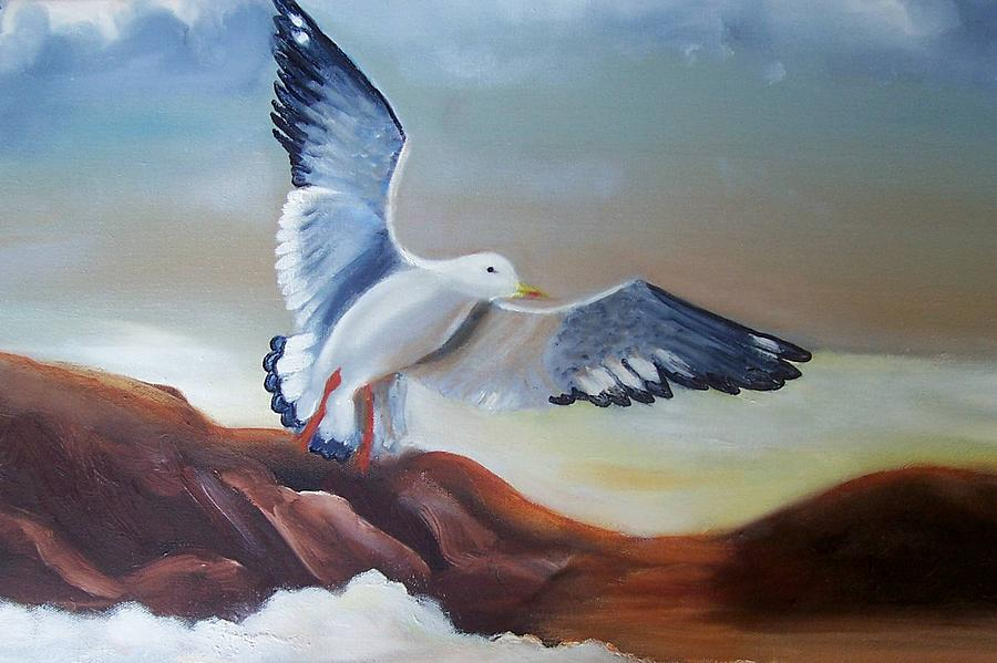 Birds Painting - Seagull Landing by Martha Mullins