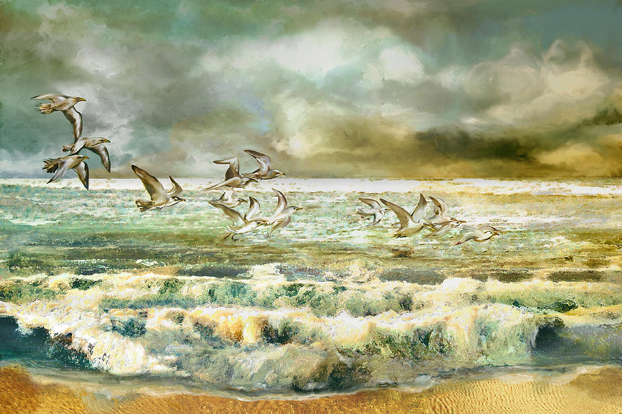 Seagull Painting - Seagulls At Sea by Anne Weirich