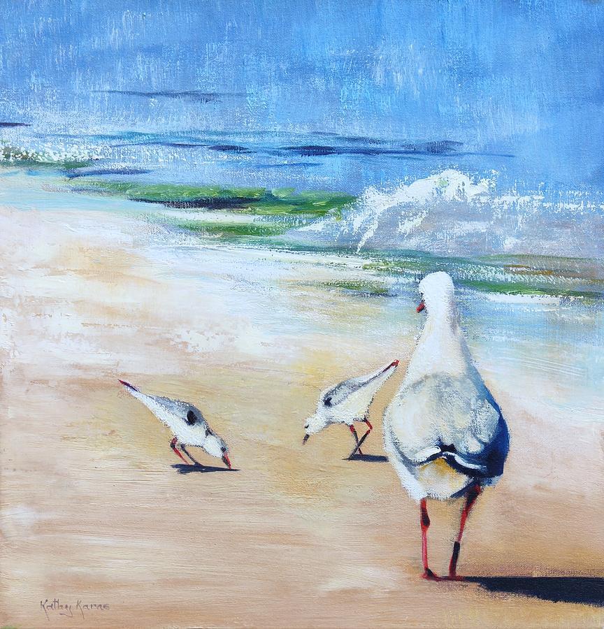 Beach Painting - Seagulls by Kathy  Karas