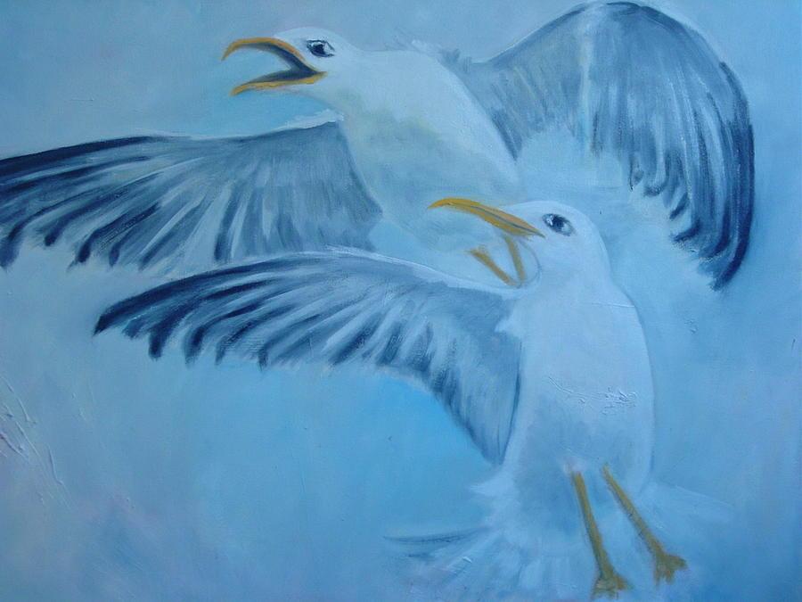 Bird Painting - Seagulls by Zerrin Gurdal