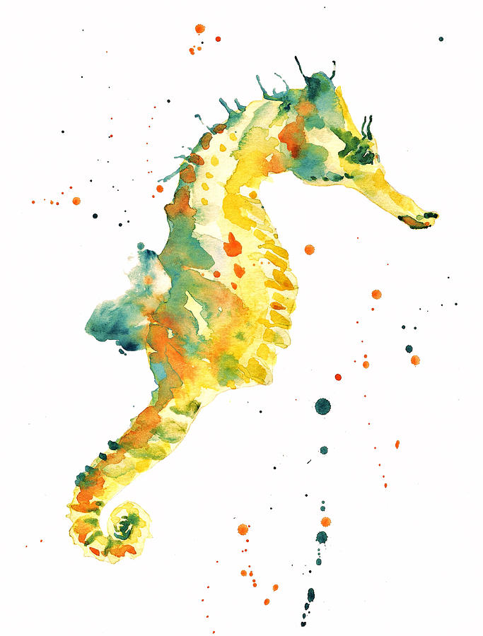 Seahorse - Yellow Seahorse Painting by Alison Fennell
