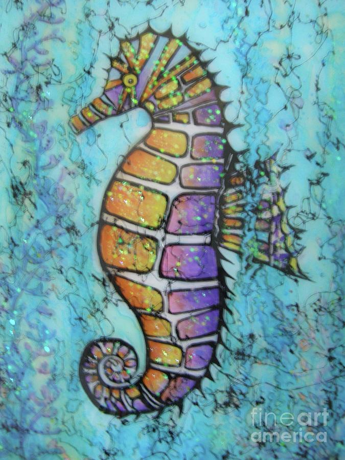 Turquoise Painting - Seahorse Downunder by Midge Pippel