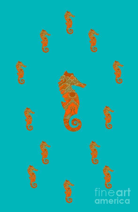 Seahorse Family Aqua And Orange Mixed Media