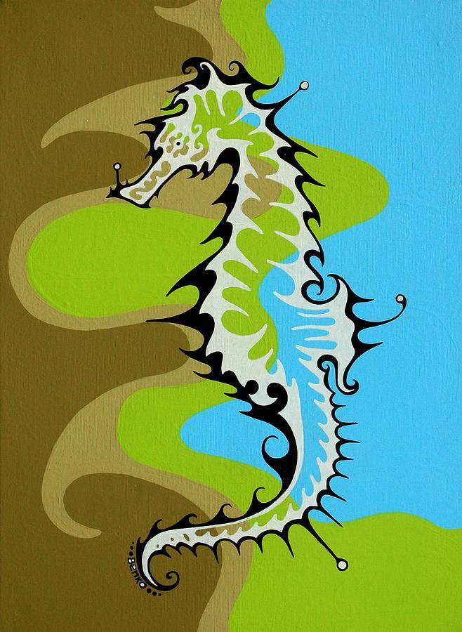 Seahorse Painting - Seahorse II by John Benko