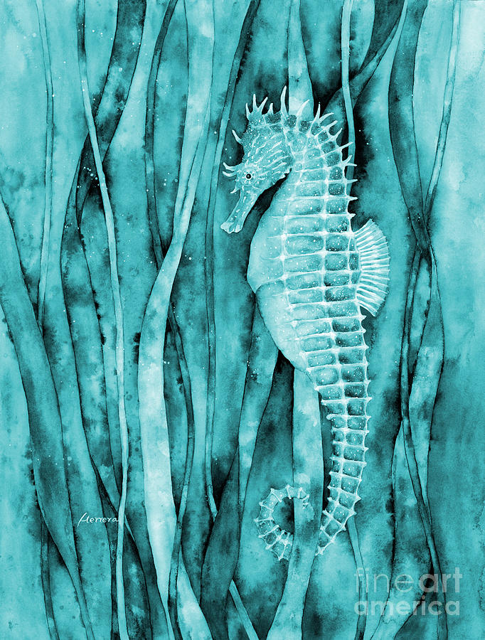 Seahorse On Blue Painting