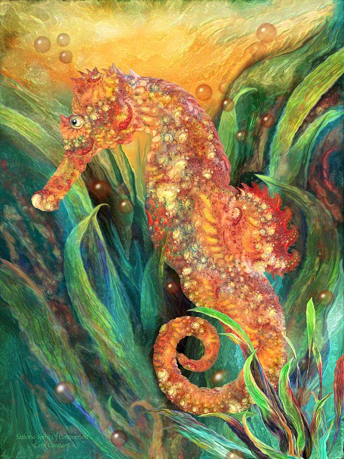 Carol Cavalaris Mixed Media - Seahorse - Spirit Of Contentment by Carol Cavalaris