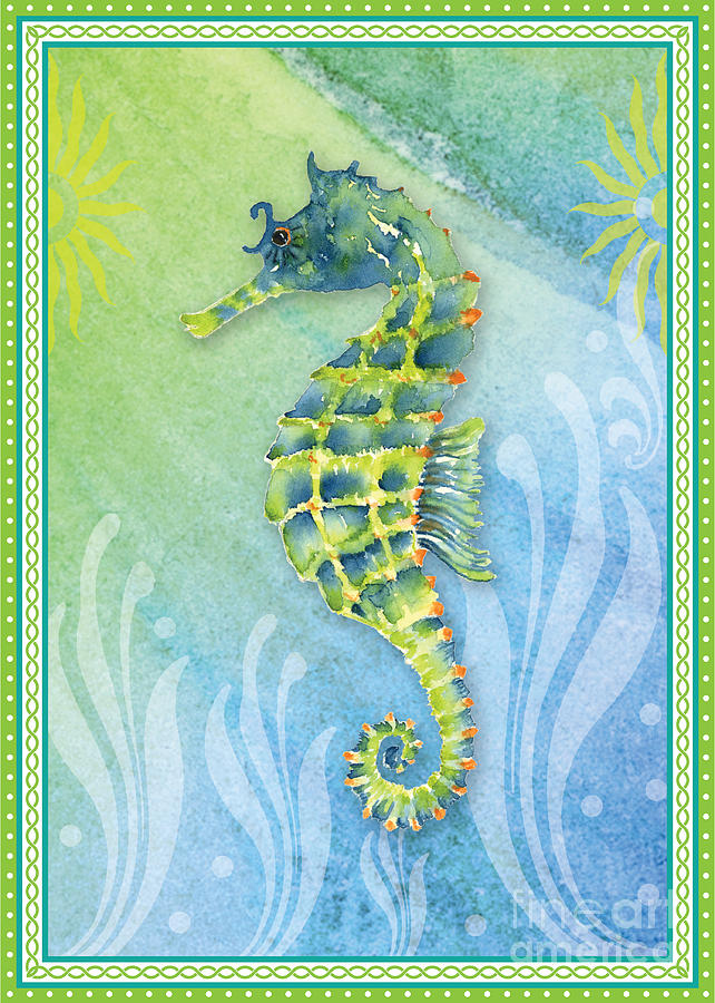 Seahorse Blue Green Painting