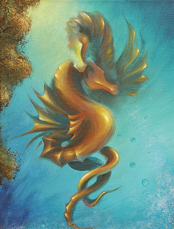 Seahorse Painting - Seahorses In Love II  by Dina Dargo