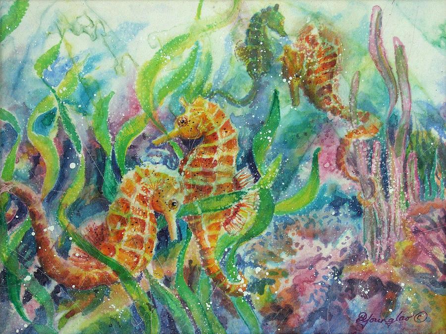 Seahorse Painting - Seahorses Three by Deborah Younglao