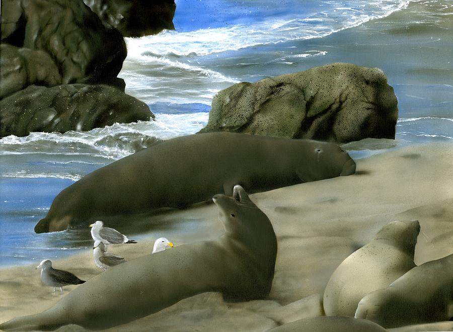 Elephant Seals Painting - Seal Rock by Charles Parks