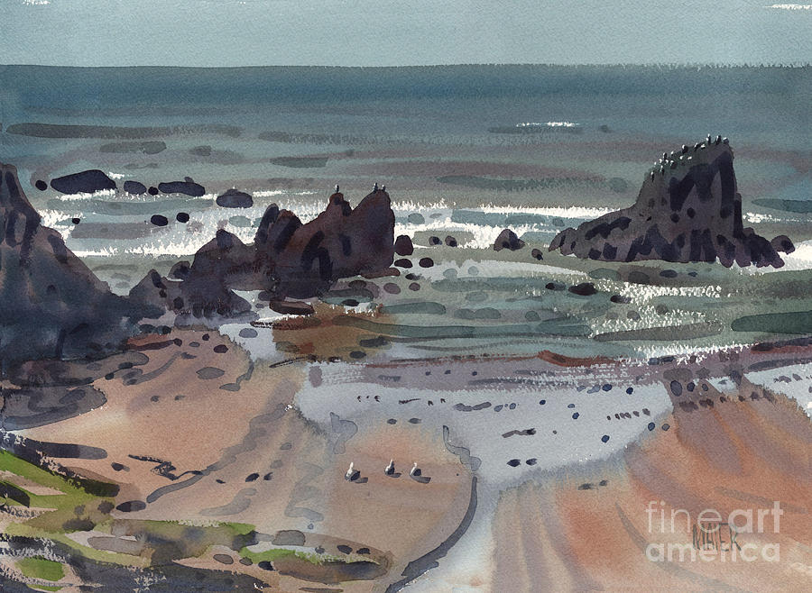 Seal Rock Painting - Seal Rock Oregon by Donald Maier