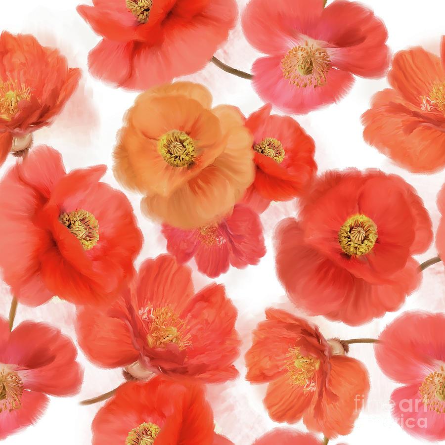 Seamless Pattern Of Watercolor Poppy Flowers Digital Art By Svetlana