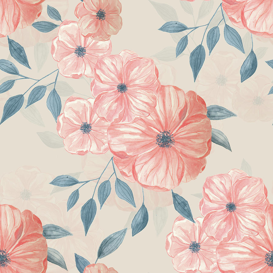 Seamless Watercolor Floral Pattern Painting By Katerina Kirilova