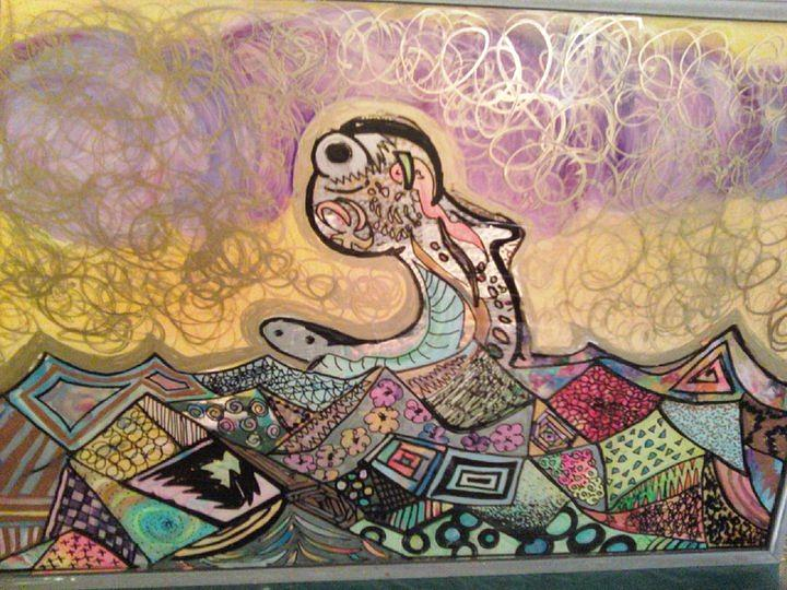 Abstract Glass Art - Seamonster by Alexa Soules