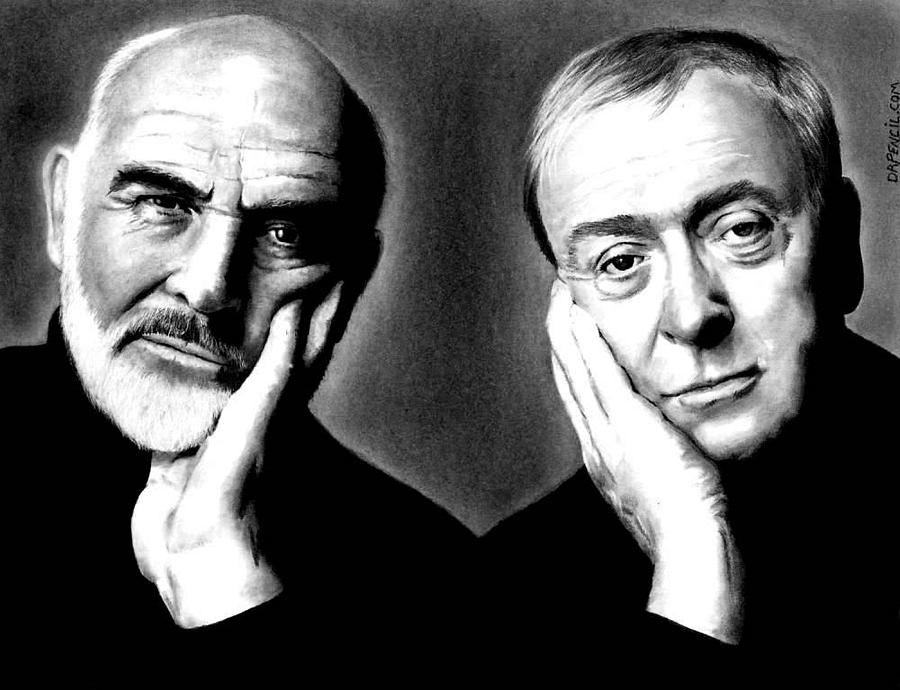 Sean Connery Drawing - Sean Connery And Michael Caine by Rick Fortson