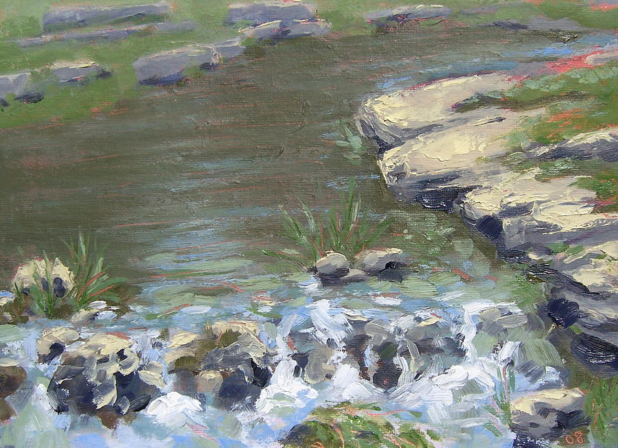 Landscape Painting - Seans Fishing Hole  by David Menendez