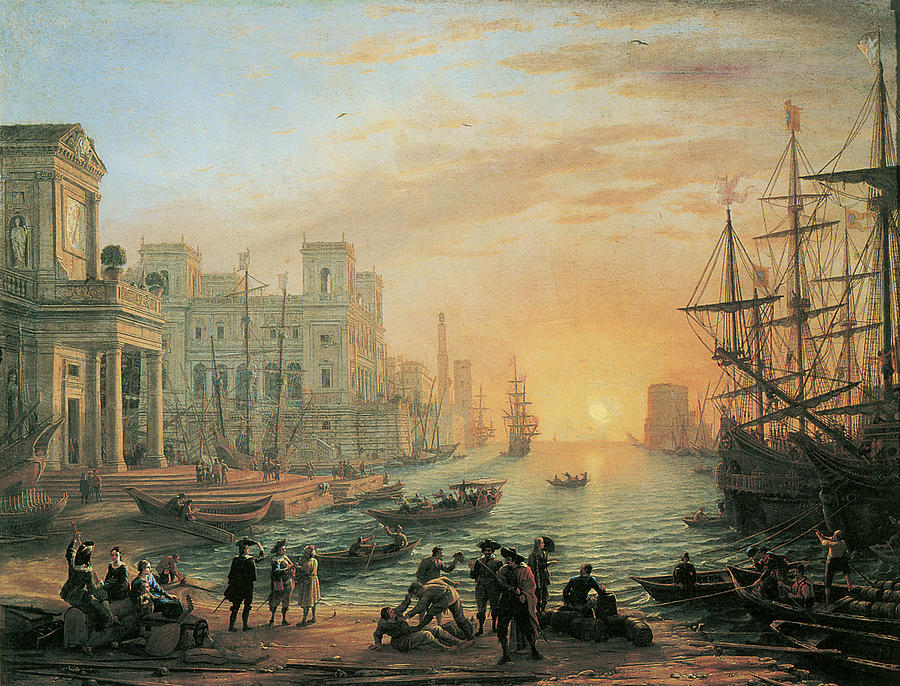 Claude Lorrain Painting - Seaport At Sunset by Claude Lorrain