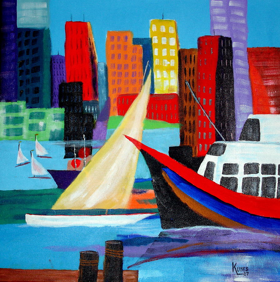 Ship Painting - Seaport by Susan Kubes