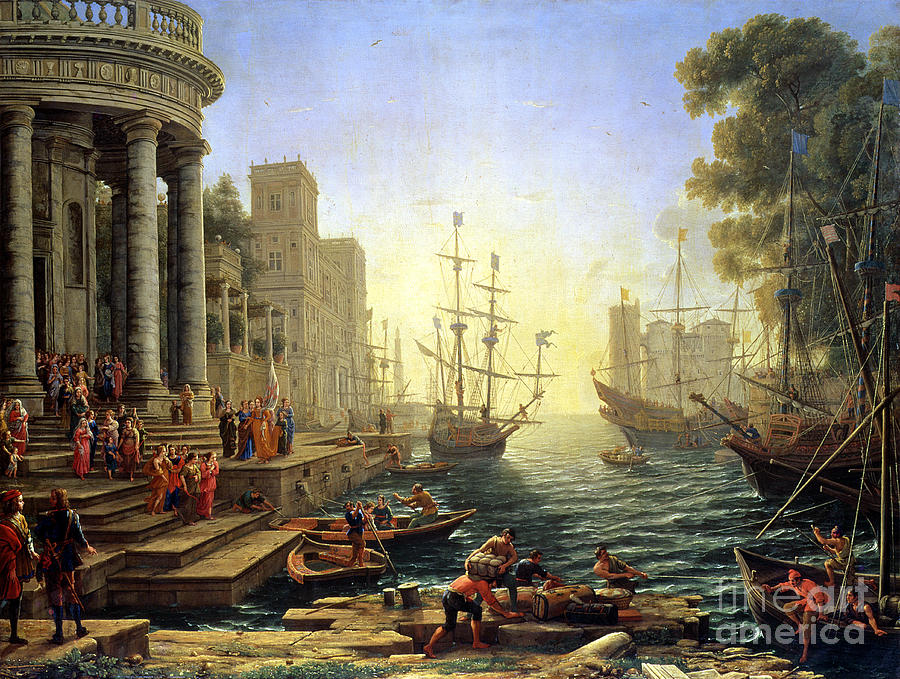 Seaport Painting - Seaport With The Embarkation Of Saint Ursula  by Claude Lorrain
