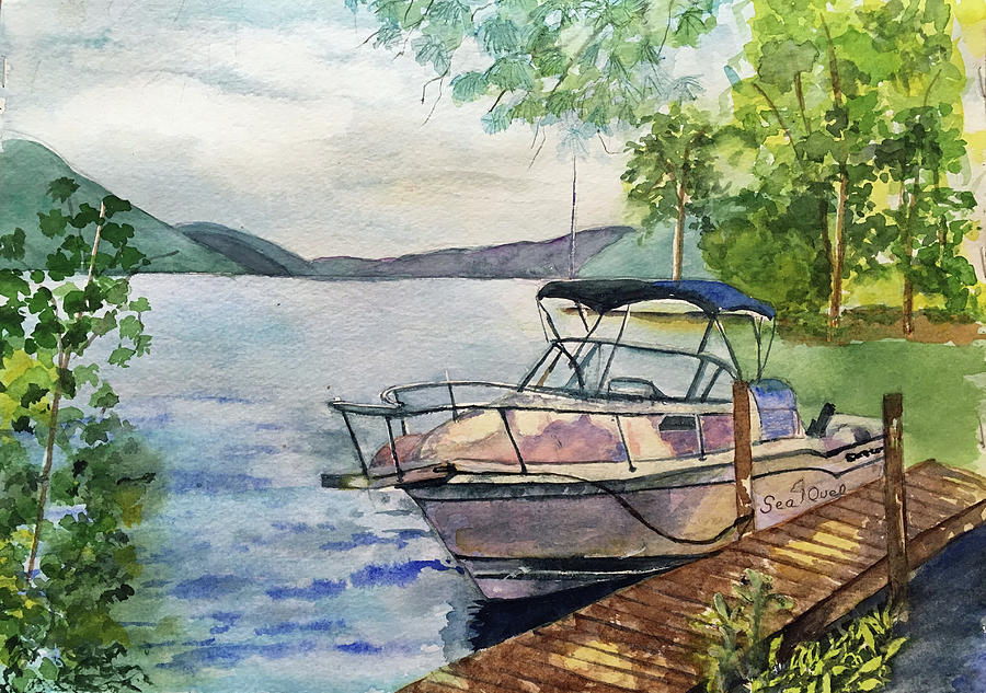 Lake George Painting - SeaQuel at rest by Lynne Atwood