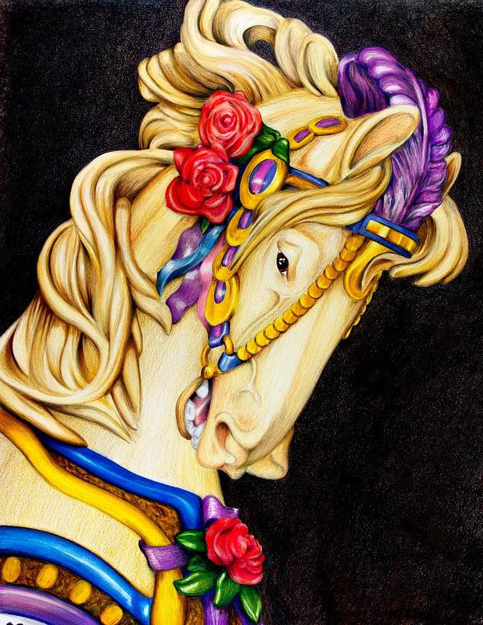 Carousel Horse Painting - Searching For The Brass Ring No.12 by Rick Ahlvers