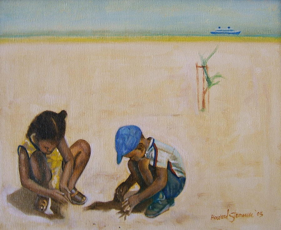 Children At The Beach Painting - Searching for treasure by Howard Stroman