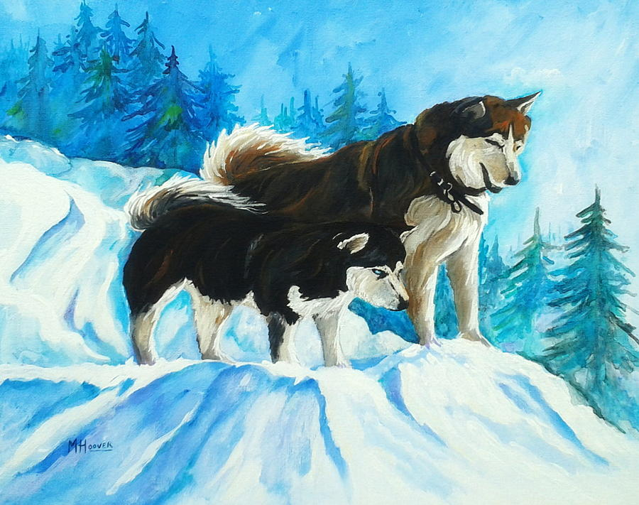 Adventure Painting - Searching Huskies by Marla Hoover
