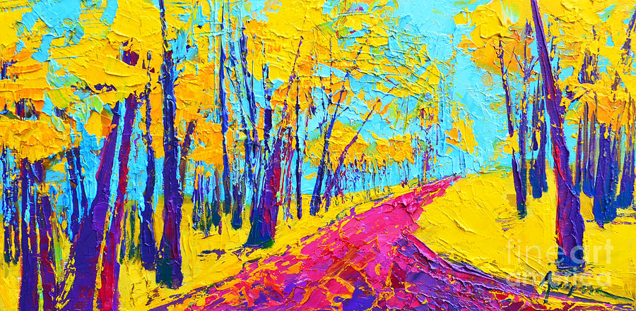 Searching Within 2 Enchanted Forest Series - Modern Impressionist Landscape Painting Palette Knife by Patricia Awapara
