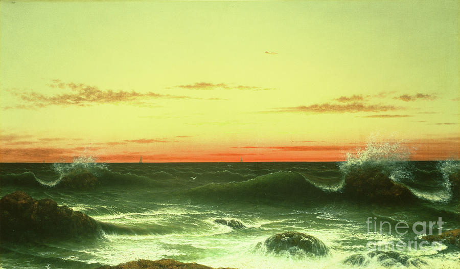 Seascape: Sunset Painting - Seascape Sunset 1861 by Martin Johnson Heade