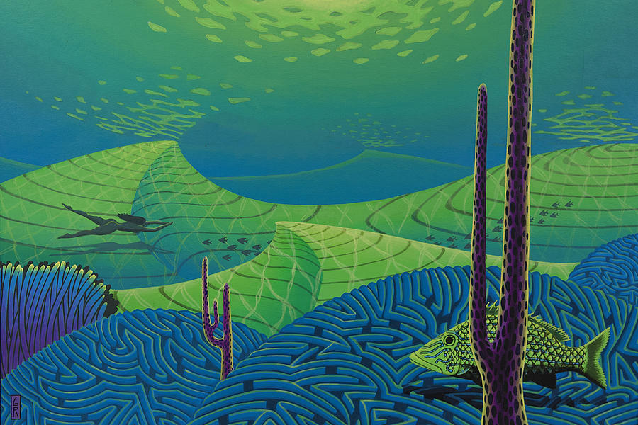 Seascape Painting - Seascape With Brain Coral And A Blue Striped Grunt by Guy Radcliffe