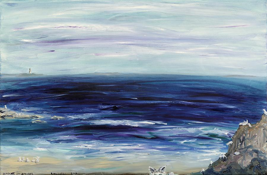 White Cat Painting - Seascape With White Cats by Regina Valluzzi