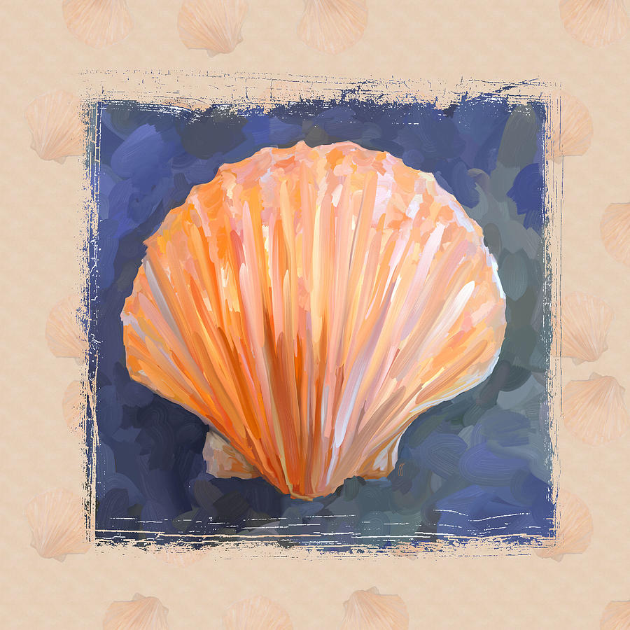 Sea Shell Painting - Seashell I Grunge With Border by Jai Johnson