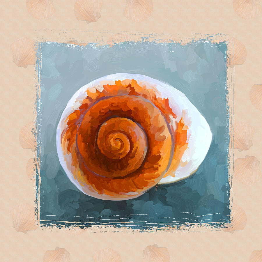 Sea Shell Painting - Seashell II Grunge With Border by Jai Johnson