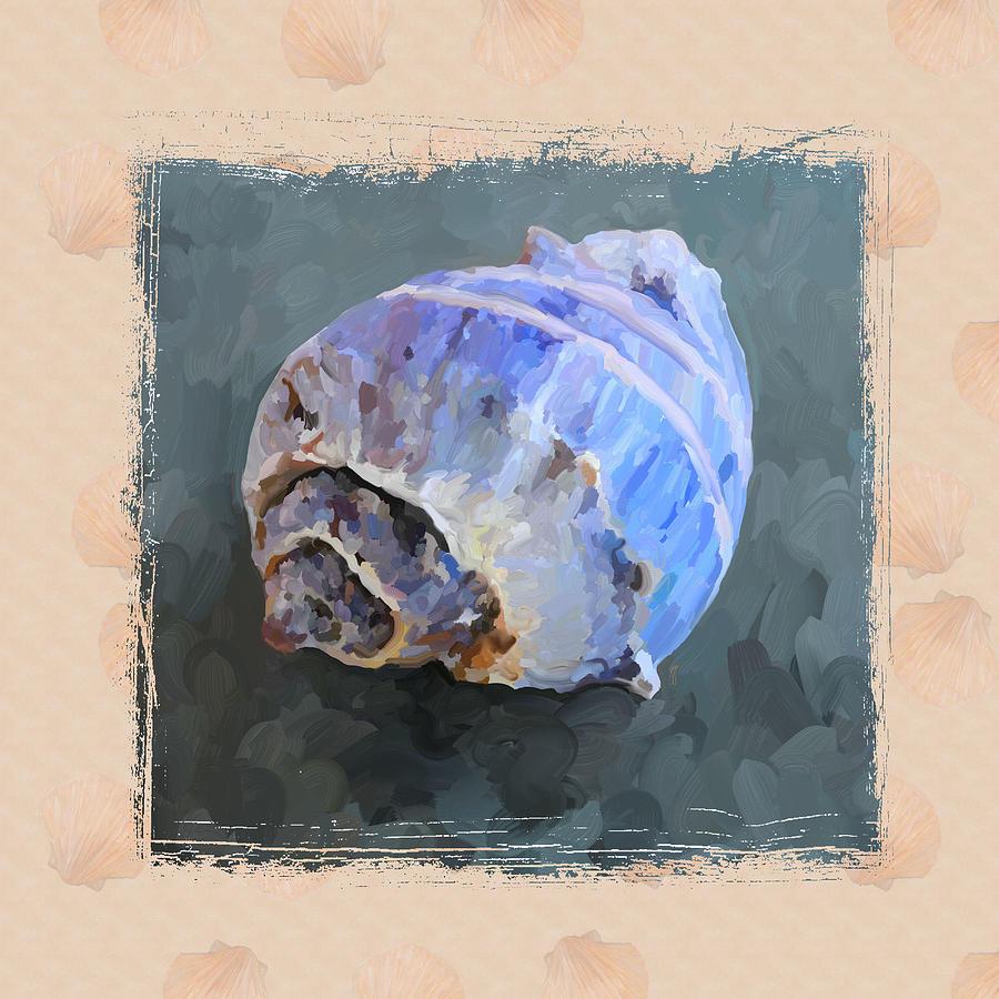 Sea Shell Painting - Seashell IIi Grunge With Border by Jai Johnson