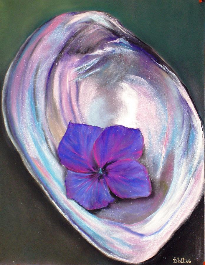Seashell With Hortensia Painting by Dick Stolp