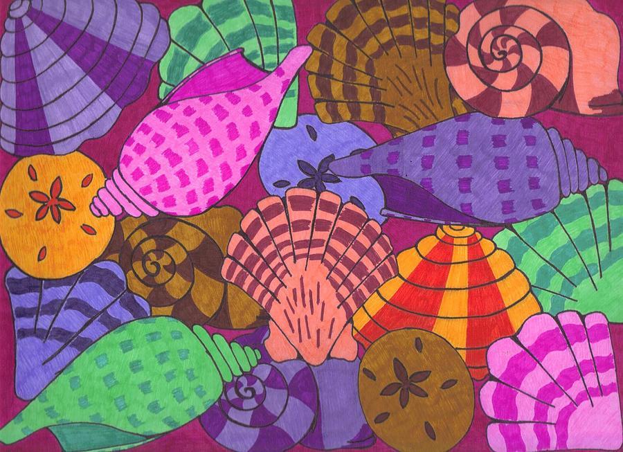 Ocean Drawing - Seashells by Jill Christensen