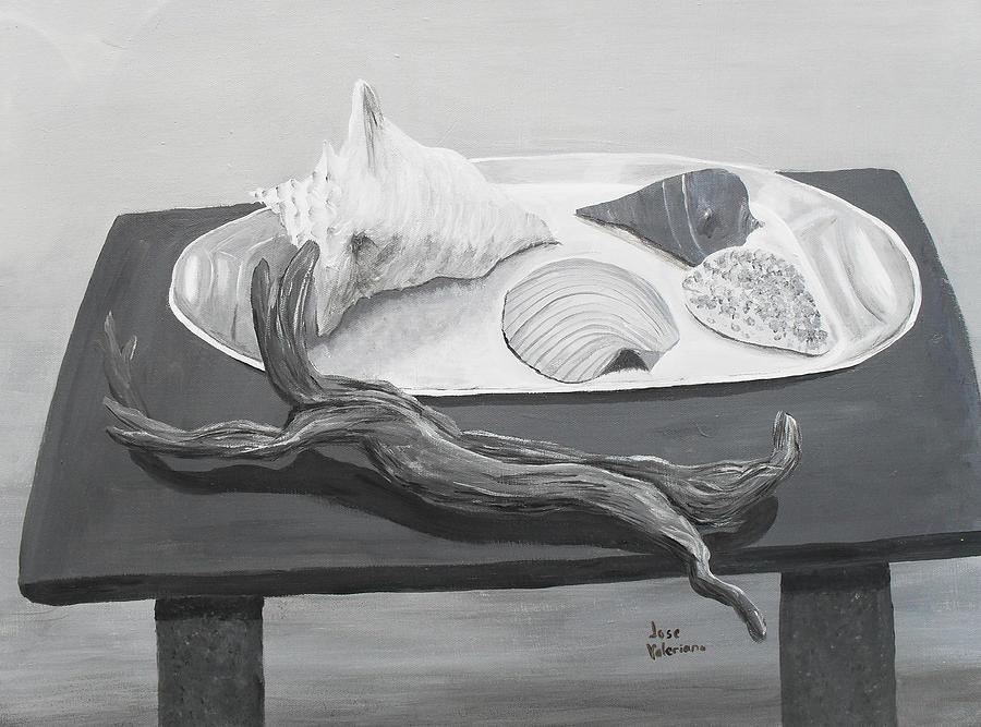 Acrylic Painting - Seashells On Table by M Valeriano